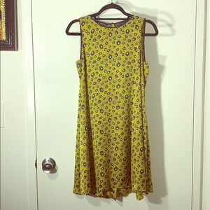 Yellow print Zara trapeze dress